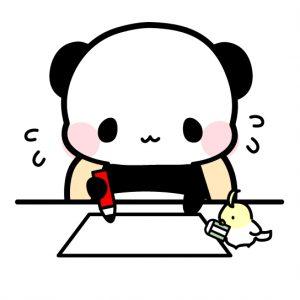何かを書いているパンダ