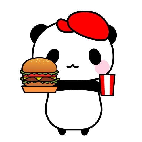 ハンバーガーショップ店員パンダフリーイラスト パンダ動物かわいい