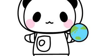 宇宙飛行士パンダのフリーイラスト