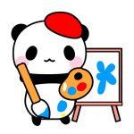 画家・絵描きパンダのフリーイラスト