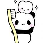 歯ブラシパンダと歯のイラスト