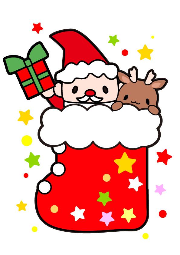 クリスマスブーツとサンタとトナカイのフリーイラスト パンダ動物