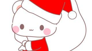 くまサンタクロースとクリスマスツリーのフリーイラスト素材