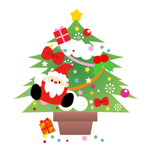サンタとクリスマスツリークリスマスリースのイラスト パンダ動物