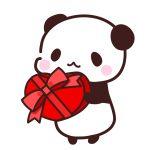 バレンタインチョコをわたすパンダのフリーイラスト
