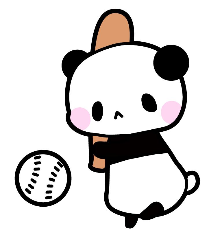 野球パンダフリーイラスト素材 パンダ動物かわいいフリー