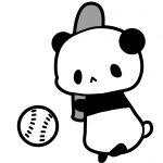 野球・パンダイラスト(白黒)