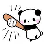 野球・バッターパンダフリーイラスト