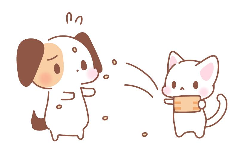 節分豆まき犬猫フリーイラスト素材 パンダ動物かわいいフリーイラスト