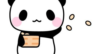 節分・豆まきをしているパンダのフリーイラスト