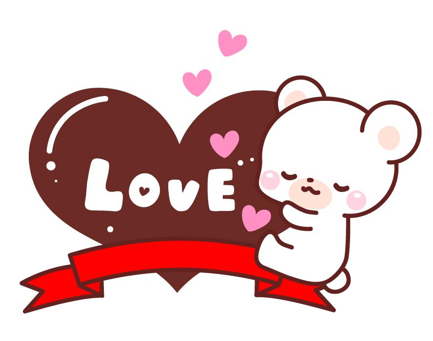 バレンタイン ハートとくまのフリーイラスト パンダ 動物かわいいフリーイラスト