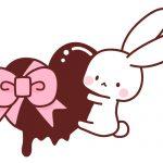 バレンタインチョコレートとうさぎのイラスト