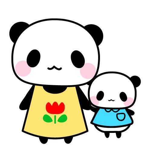 保育士パンダと子パンダフリーイラスト パンダ 動物かわいいフリーイラスト
