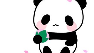 桜餅とパンダのフリーイラスト