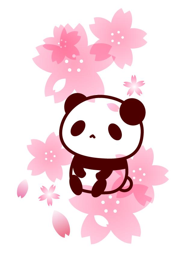 桜とパンダのフリーイラスト パンダ動物かわいいフリーイラスト