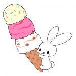 アイスクリームとうさぎと猫のイラスト