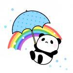 虹と傘を持ったパンダのフリーイラスト素材