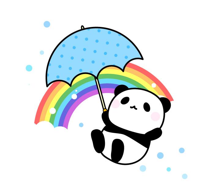 虹と傘を持ったパンダのフリーイラスト素材 パンダ動物かわいい
