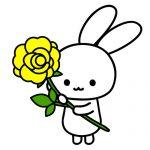 黄色のバラを持ったうさぎのフリーイラスト