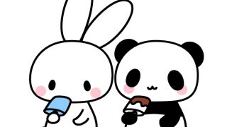 アイスを食べているうさぎとパンダ