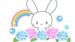 あじさいと虹とうさぎのイラスト