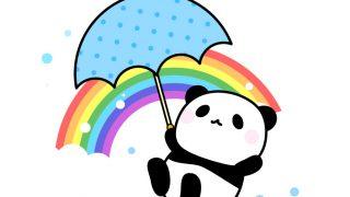 虹と傘を持ったパンダのフリーイラスト