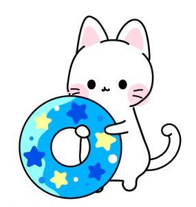 浮き輪をもった猫のイラスト