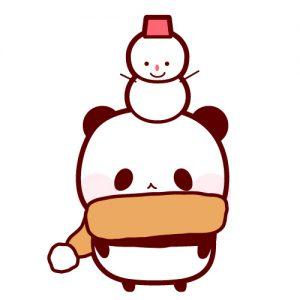 パンダと雪だるまのフリーイラスト パンダ動物かわいいフリーイラスト
