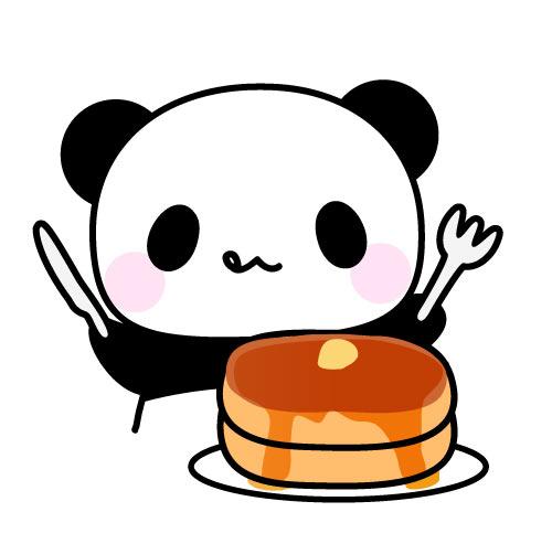 ホットケーキおいしそうパンダのフリーイラスト パンダ動物かわいい