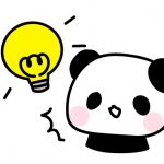 ひらめきパンダ・電球のフリーイラスト