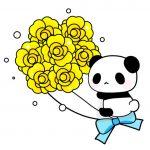 父の日黄色バラパンダのフリーイラスト