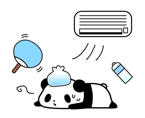 夏バテ・熱中症対策パンダのフリーイラスト | パンダ・動物かわいいフリーイラスト