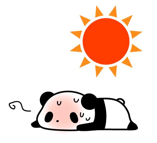 熱中症パンダフリーイラスト | パンダ・動物かわいいフリーイラスト