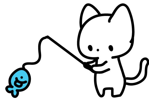 釣りをする猫のフリーイラスト素材 パンダ 動物かわいいフリーイラスト
