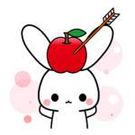 うさぎのフリーアイコン素材(頭にりんご)