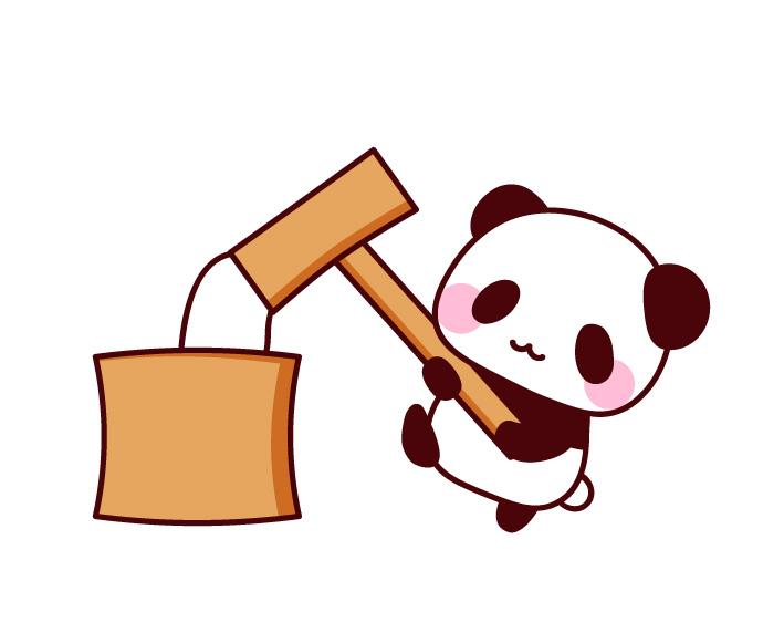 餅をついているパンダのフリーイラスト パンダ動物かわいい