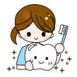 歯と歯磨きアドバイス女性(歯科衛生士)イラスト