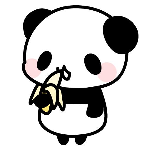 バナナを食べるパンダのフリーイラスト