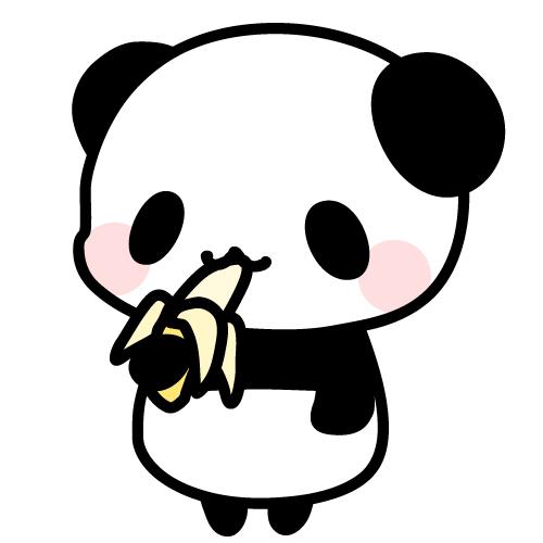 バナナを食べるパンダのフリーイラスト   パンダ・動物 ...