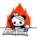 受験勉強をするパンダのフリーイラスト
