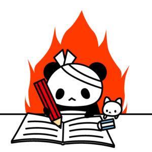 受験勉強中のパンダ