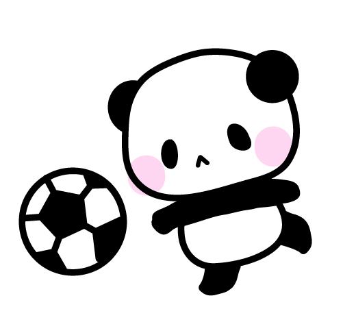 サッカーしようよパンダのフリーイラスト パンダ動物かわいい