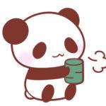 お茶を飲むひとやすみパンダフリーイラスト