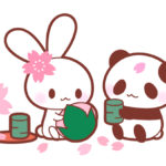 お花見パンダ&うさぎのフリーイラスト