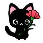 母の日・カーネーションと黒猫のイラスト