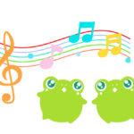 カエルの歌・合唱フリーイラスト素材