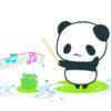 指揮者パンダと歌うカエルのフリーイラスト