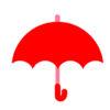 赤・青・黄色の傘のフリーイラスト素材
