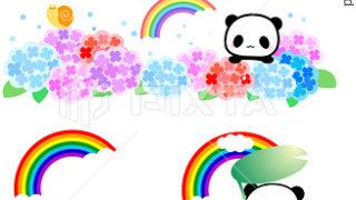 6月・紫陽花と虹パンダのイラスト素材
