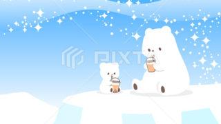 暑中見舞い・しろくま親子(ホッキョクグマ)のイラスト素材